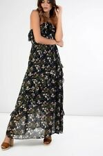 NEW GLAMOROUS NAVY FLORAL RUFFLE MAXI DRESS FESTIVAL BOHO CHIC OCCASION LOOK UK