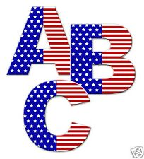 American Flag Alphabet Letter Wall Decal Personalize Name 4 of July Art Stickers