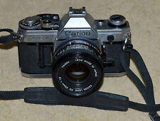 CANON AE-1 35MM SLR FILM CAMERA WITH 50MM CANON LENS MADE IN JAPAN