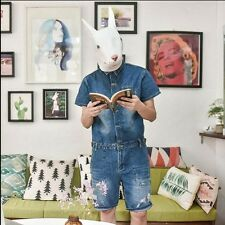 New Fashion Mens Denim Ripped Short Jumpsuits Overalls Vests Rompers Jeans Pants