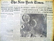 1965 NY Times newspaper w earliest CLOSE UP PHOTOS of the MOON by RANGER 8 PROBE