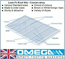 Lean To Conservatory Roof Kit DIY - 3.5m Projection, 10/16mm Polycarbonate