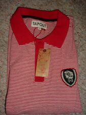 NEW MENS TAPOUT VINTAGE MINI STRIPED RED POLO SHIRT SIZE L XL XXL NWT TAP OUT