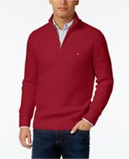 Tommy Hilfiger Mens Size XL Red 1/4 Zip Ribbed Mock Neck Sweater 2870399