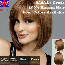 UK Women Lady Bob Short Hair Straight Hairpieces Black Brown Cosplay Anime Wigs
