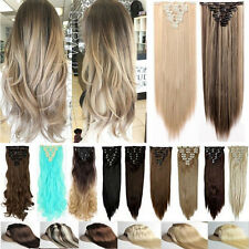 New Lady Full Head Clip In Hair Extensions Long 8 Piece 18 Clips On As Human HS5