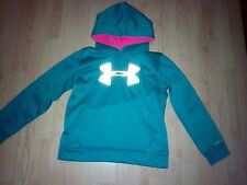 UNDER ARMOUR GIRLS TEAL & PINK PULL OVER HOODIE TOP SIZE YMD YOUTH MEDIUM