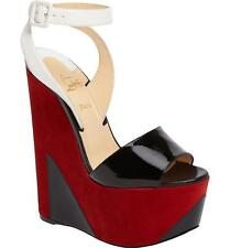 Christian Louboutin TROMPLOIA Suede Patent Platform Wedge Heel Sandal Shoes $995