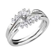 Round Cubic Zirconia Platinum EP Brass Bridal Engagement Wedding Ring Set