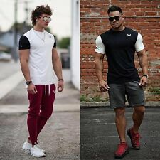 Mens Gym Bodybuilding Training T-shirts Short Sleeve Workout Sport Clothing Tops