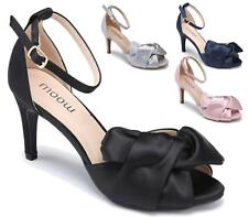 LADIES HIGH HEEL BRIDAL WEDDING SATIN BOW SANDALS OPEN TOE PARTY PROM SHOES