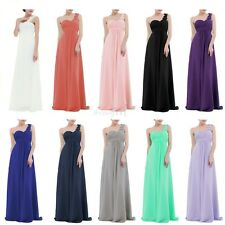 Women Chiffon One-shoulder Pleated Bridesmaid Dress Long Evening Prom Gown