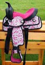 "10"" Western Synthetic Mini Pony Saddle Trail Pleasure 4p PINK Floral Print Uniqu"