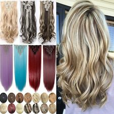 100% Real Clip In As Human Thick Hair Extensions 8 Piece 18 Clips Hair Extension