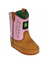 John Deere Western Boots Girls Kids Crib Wellington Tan Pink JD0185