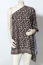 MICHAEL KORS Black Grey Animal Print Swim Cover Top Tunic Dress Sz S M NWT $140