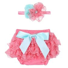 Infant Baby Girls Lace Ruffled Bowknot Bloomer Diaper Cover Flower Headband Set