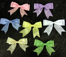 10 Satin Ribbon Baby Double bows Pink Blue White Ivory 85mm wide 25mm Ribbon