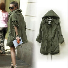 2015 Girls Womens Hoodie Drawstring Army Green Military Trench Parka Jacket Coat