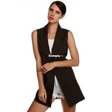 Meaneor Stylish Ladies Women Casual Sleeveless Lapel Pocket Solid Vest ES9P