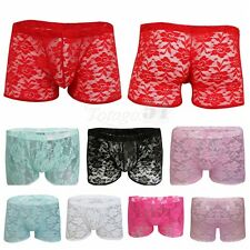 Sexy Mens Sheer Lace Boxer Briefs Shorts Underwear Pants Sissy Trunks Underpants