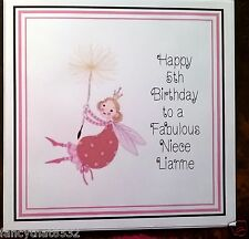 Girls Handmade Personalised Birthday Card ANY AGE Fairy Cousin Sister Niece