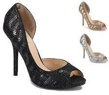 WOMENS LADIES HIGH HEEL LADIES DIAMANTE BRIDAL WEDDING PEEPTOE SHOES SIZE 3-8