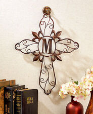 Scrolled Wrought Iron Wall Mount Medallion Grille Monogram Letters Cross