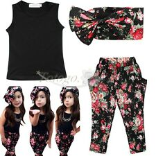 3PCs Baby Girls Kids Summer Floral Top T-shirt+Pants+Headband Outfits Clothes