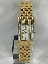 Ladies Bulova 98W13 Gold Tone Stainless Steel Diamond Accented White Dial Watch