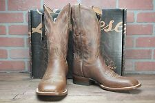 Lucchese Mens Distressed Bison Square Toe Cowboy Boots Cognac CL1511.W8