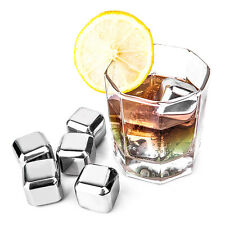 4/6/8 Pcs Reusable Stainless Steel Whisky Wine Ice Stones Drinks Cooler Cubes