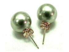 12mm 14mm OLIVE GREEN Sea Shell Pearl Stud Earrings 14K Solid Yellow Gold Posts