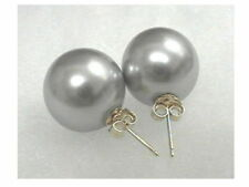 12mm 14mm GRAY/GREY Sea Shell Pearl Stud Earrings 14K Solid Yellow Gold Posts