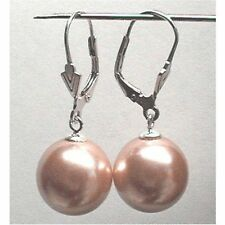 6mm 8mm 10mm PEACH ORANGE Shell Pearl Dangle EARRINGS LEVERBACK Sterling Silver