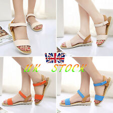UK Girl Ladies Ankle Strap Open Toe Sandals Anti Skid Flats Beach Shoes Size 2-6