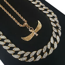 """14k Gold PT Egyptian AnkhCross Horus 15mm Iced Out Miami Cuban 30"""" Necklace S187"""