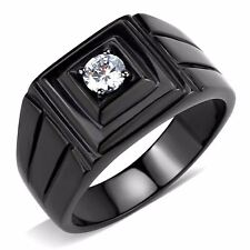 5x5mm Round Cut CZ Solitaire Black IP Stainless Steel Mens Ring