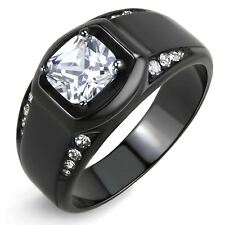 7x7mm Cushion CZ Center Two Row Side Stone Black IP Stainless Steel Mens Ring