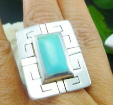 BIG TAXCO MEXICO MEXICAN 925 STERLING SILVER TURQUOISE  RING SZ 6
