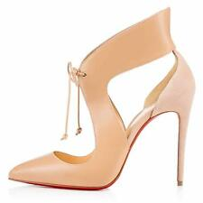 Christian Louboutin FERME ROUGE Leather Suede Tie Heels Pumps Shoes Nude $995