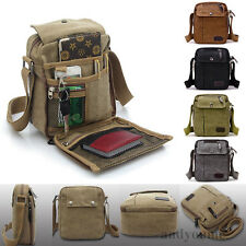 Mens Military Vintage Canvas Leather Satchel Shoulder Bag Messenger School Bag Y