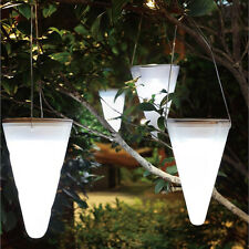 Solar Outdoor Garden Lamps Hanging Tree Cornet Cone LED Night Lights white light