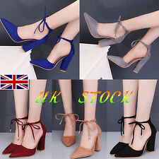 UK Womens Ladies High Heel Sandal Party Tie Up Ankle Strappy  Pointed Shoes Size