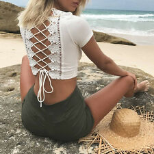 Summer Women's Lace-up Bandage Lace Hollow Out Crop Top Blouse T-Shirt Cheap
