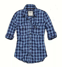 Abercrombie Fitch Womens Navy Blue Button Down Long Sleeve Plaid Shirt Small