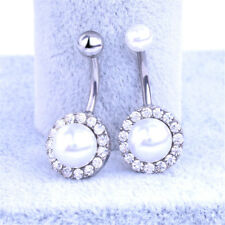 Pearl Rhinestone Navel Rings Belly Button Bar Ring Dangle Body Piercing Jewelry