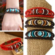 Retro Men's Punk Crystal Leather Bangle Braided Cuff Wristband Bracelet Jewelry