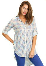 UMGEE Womens Blue Plaid Button Up Western Long Sleeve Tunic Top Shirt S M L