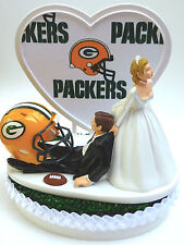 Wedding Cake Topper Humorous Green Bay Packers Themed Football Sports Turf Groom